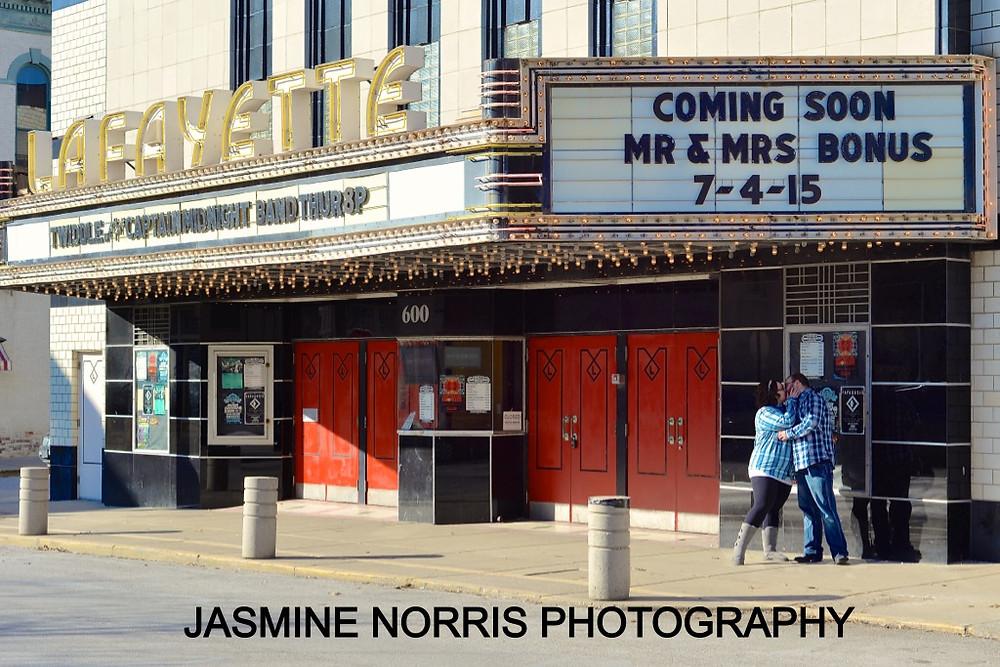 Lafayette Indiana Engagement Lafayette Theater Photographer
