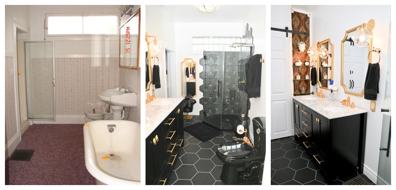 Black White and Gold Bathroom Remodel: Personal