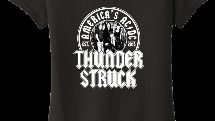 Thunderstruck Ladies V-Neck Logo Tee w/ Band Photo