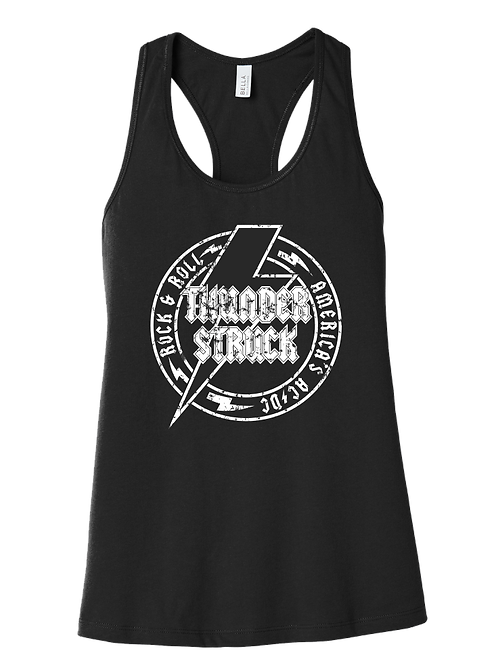Ladies Racerback Tank w/distressed logo