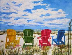 Beach Adirondack Chairs canvas