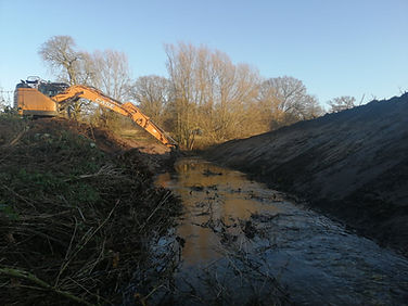 Ditch clearing and maintenance in Suffolk. Clear blocked ditch