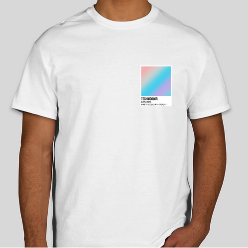 Technicolor Tee - White with Small Print