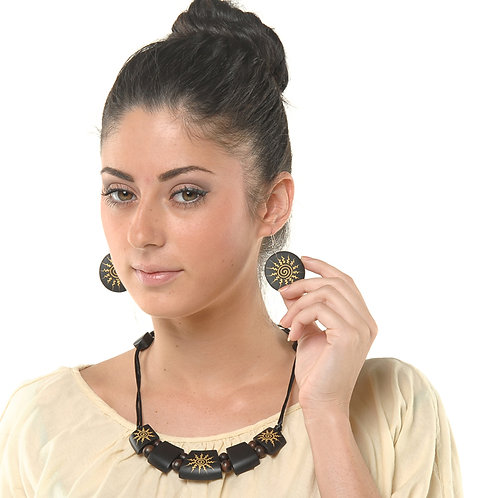 HAUTE SPROUT - WOODEN NECKLACE SET - JNS09B