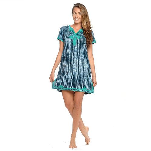 JULIA DRESS  - Chevron Print Navy / Green