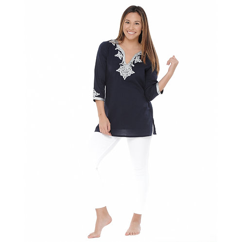 EMMA ROPE EMBROIDERY TOP - NAVY /SILVER