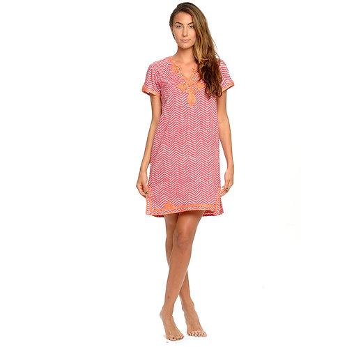 JULIA DRESS  - Chevron Print Pink / Orange