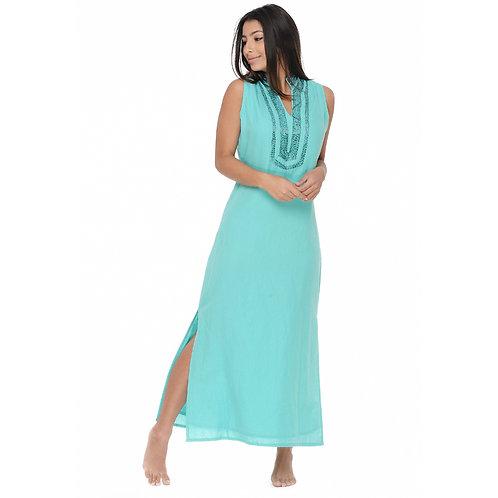 LINEN MAXI DRESS - AQUA