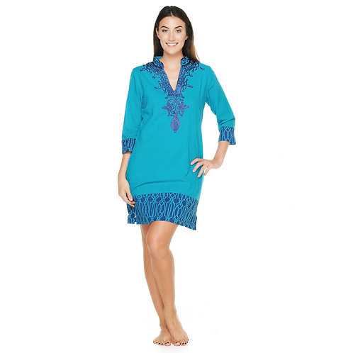 BELLA DRESS  - Sea Blue with Electric Blue Detail
