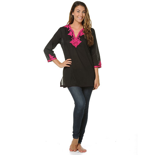 EMMA ROPE EMBROIDERY TOP - BLACK / HOT PINK