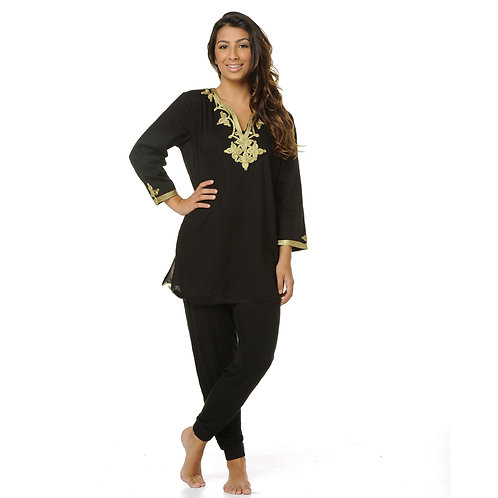 EMMA ROPE EMBROIDERY TOP - BLACK / GOLD