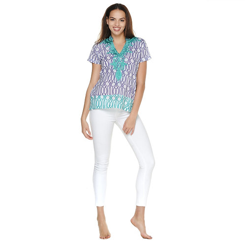 BELLA TOP  - Gate Print White/Lilac