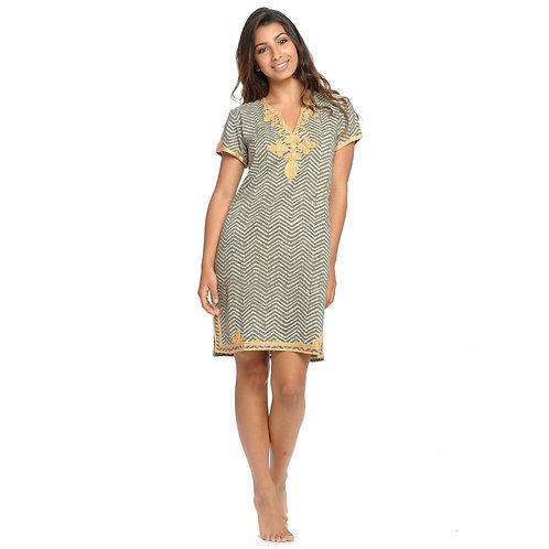 JULIA DRESS  - Chevron Print Olive / Mustard