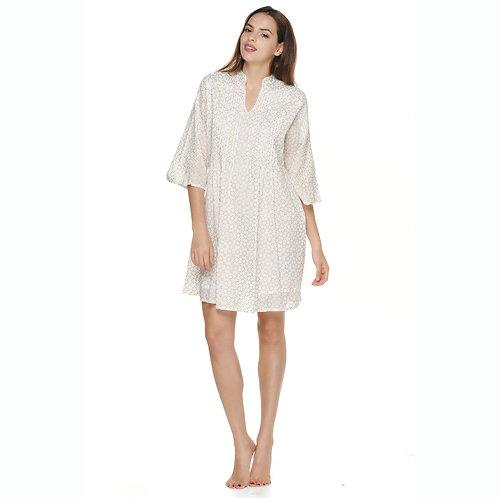 RILEY DRESS - Cream with Gold Block Print