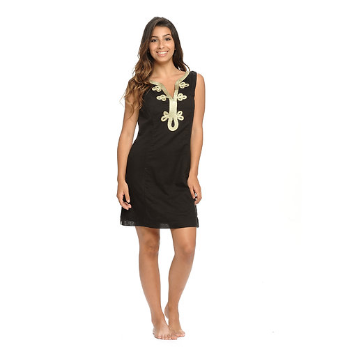 EMMA ROPE EMBROIDERY DRESS - BLACK/GOLD