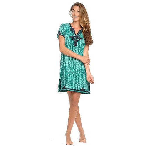 JULIA DRESS  - Chevron Print Green / Navy