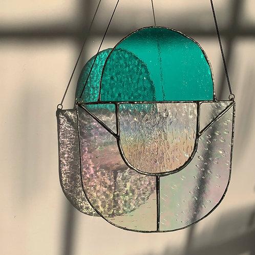 Iridescent U Three Glass Panel