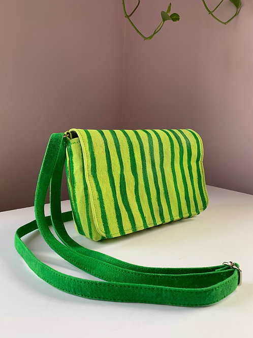 Green Striped Waxed Canvas Purse