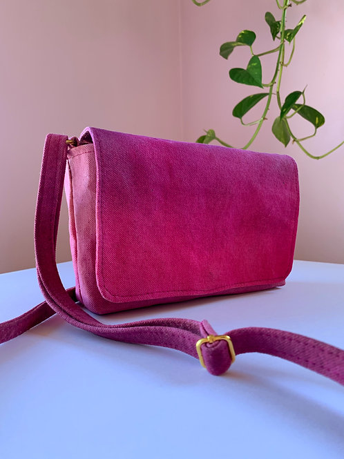 Magenta Ombre Waxed Canvas Purse