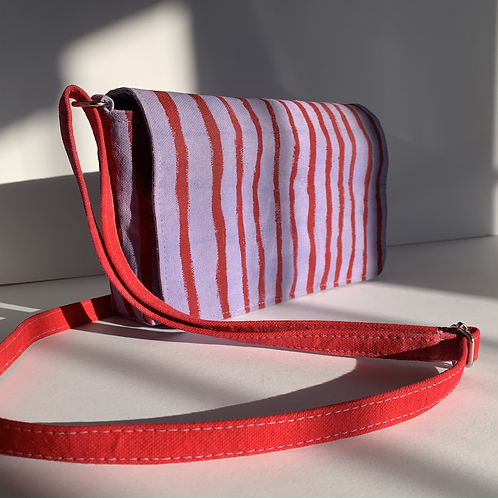 Red & Purple Striped Waxed Canvas Purse