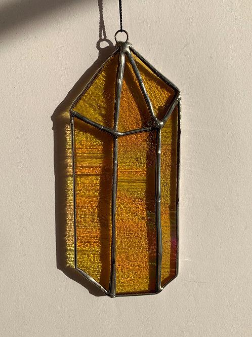 Orange Iridescent Crystal Suncatcher
