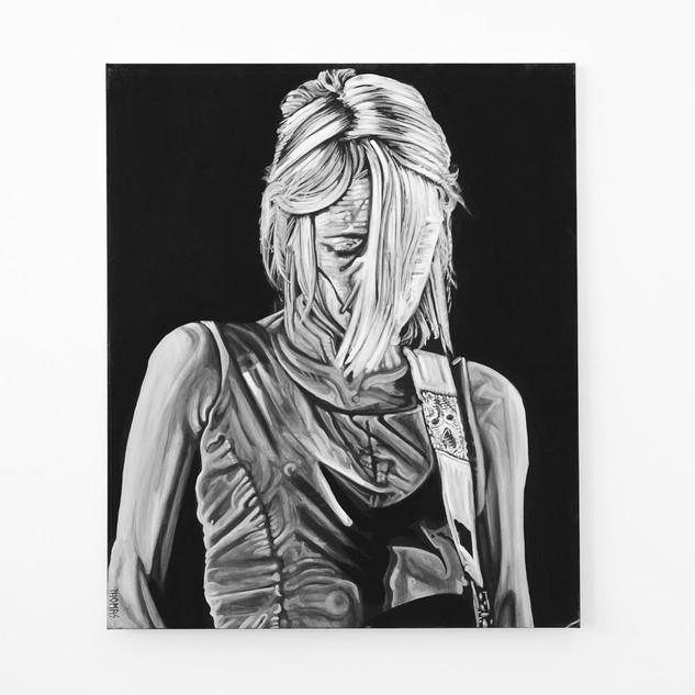 KIM GORDON, 2017  black & white Acrylic on Canvas  Ca 120 x 100 cm signed