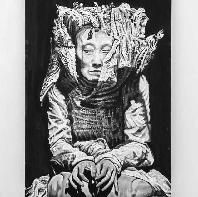 YOKO ASHIKAWA, 2018  black & white Acrylic on Canvas  Ca 180 x 120 cm signed