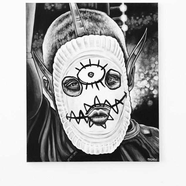 BBQ, 2017  black & white Acrylic on Canvas  Ca 120 x 100 cm signed
