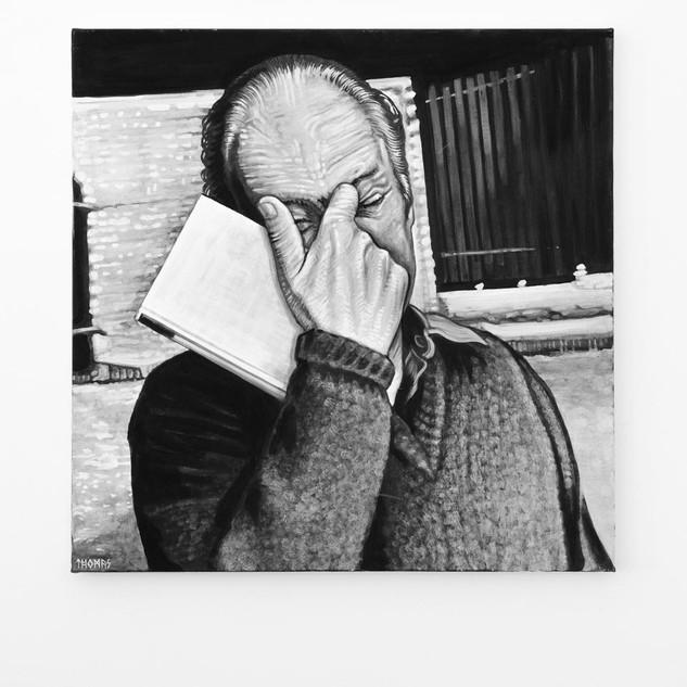 THOMAS BERNHARD, 2017   black & white Acrylic on Canvas  Ca 110 x 110 cm signed