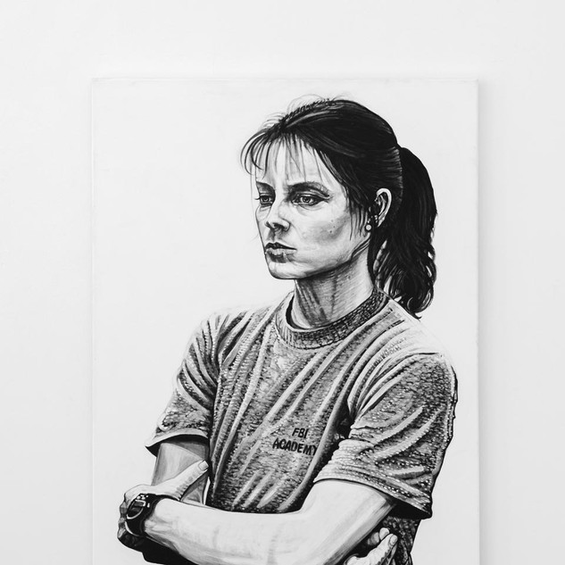 CLARICE STARLING, 2017  black & white Acrylic on Canvas  Ca 140 x 100 cm signed