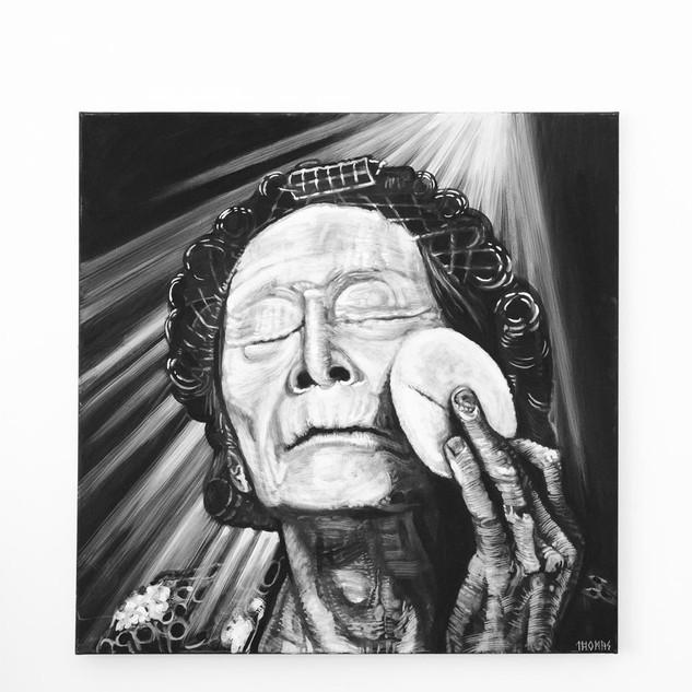 KAZUO OHNO, 2017  black & white Acrylic on Canvas  Ca 110 x 110 cm signed