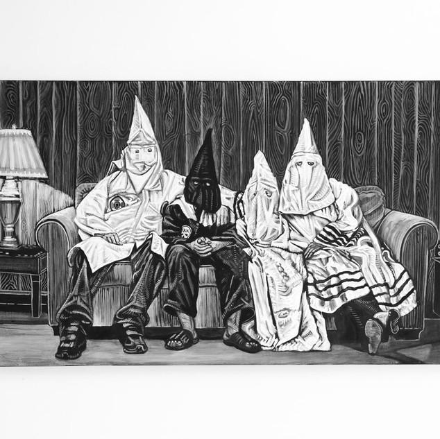 KKK-FAMILY, 2018  black & white Acrylic on Canvas  Ca 90 x 140 cm signed