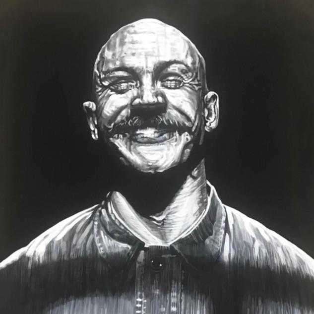 BRONSON, 2017  black & white Acrylic on Canvas  Ca 120 x 100 cm signed