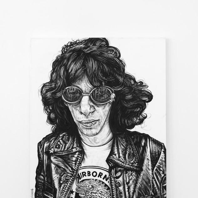 JOEY RAMONE, 2017  black & white Acrylic on Canvas  Ca 120 x 100 cm signed