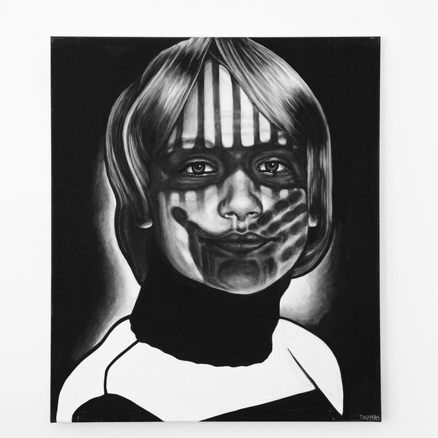 SELF (10yrs old), 2017  black & white Acrylic on Canvas  Ca 140 x 120 cm signed