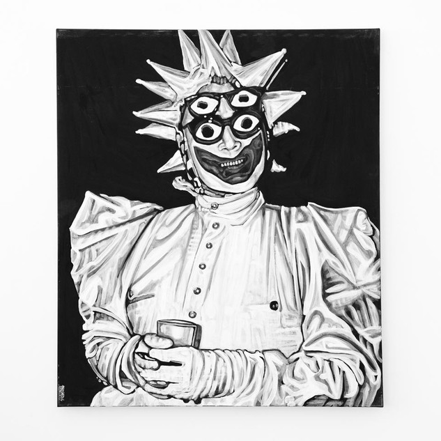 LEIGH BOWERY, 2017  black & white Acrylic on Canvas  Ca 140 x 120 cm signed