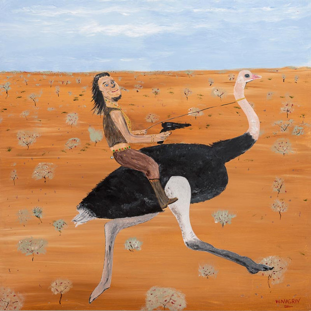 RIDING THE RANGE, 2018   Acrylic on Board 152.4 x 152.4 cm  In this painting (circa 1890) we see John Francis Peggotty and his Ostrich on their very first day of riding the range. John had not long arrived in Australia from his native Ireland via London and South Africa. He spoke quickly and poetically in a lilting Irish brogue. He had always had a penchant for dressing up in flamboyant clothing, and this passion grew in line with his wealth and notoriety. His many and daring robberies netted him a fortune in gold and jewellery which he draped all over his body as he carried out his reign of terror along the dirt roads and bush tracks of outback Australia. In time, John Peggotty - The Ostrich Bushranger - was to become the Most Wanted Bushranger in The Coorong in South Australia, but in these early days, he was just concerned about refining his Ostrich riding and gun twirling skills, and taking care of any injured or orphaned native animals that he came upon in his travels. He had little time for people, but had a soft spot for animals who seemed to like and trust him. After a day on the range, looking for potential robbery victims, he would return to his hideout to care for his ever increasing 'family' of orphaned koalas, kangaroos and other native animals until they were ready to be returned to the wild.