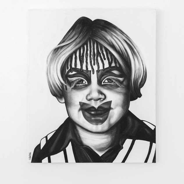 SELF (3yrs old), 2017  black & white Acrylic on Canvas  Ca 120 x 100 cm signed