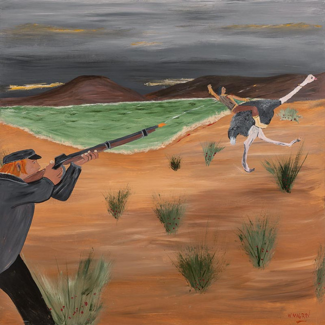 HENRY CARMICHAEL FIRES AT PEGGOTTY, 2018   Acrylic on Board 152.4 x 152.4 cm  In this painting we see John Francis Peggotty being shot by fisherman, Henry Carmichael. The first bullet passes through Peggotty's right shoulder. The next hits the ostrich. The ostrich continues to run, carrying the injured Peggotty to the safety of the sand hills. Henry Carmichael searches in the sand hills as night rapidly falls, but finds no sign of the ostrich or the Bushranger. He reports to the authorities that he has killed the Ostrich Bushranger, and receives the five thousand pound bounty that was on his head. It is accepted that Peggotty is dead, and his reign of terror is over. However, Peggotty DID survive the bullet wound, and managed to crawl back to his hideout. He remained there, tending to his wounds and mourning the death of his only true friend, his ostrich. Time passed, Peggotty's wounds healed, and he gradually came to terms with the death of his friend. He trained another ostrich, intending to return to his old life of robbing unsuspecting passersby, but in an unexpected twist of events, he met Grace. Grace had been a ballerina and had moved with her father to an outback sheep station. One day, as she practiced her ballet moves beneath a canopy of paperbark trees, Peggotty rode by and was transfixed by her grace and beauty. The pair ran away to live in a remote cabin where they cared for wildlife and raised a family.