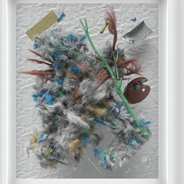 SIGNUM S.O.D. (Floozy), 2018  Harz und Pigment auf Papier W{C|RR|+} 178 x 150 cm Unikat