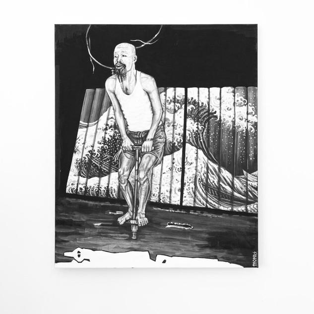 ISAMU OSHUGA, 2017  black & white Acrylic on Canvas  Ca 120 x 100 cm signed
