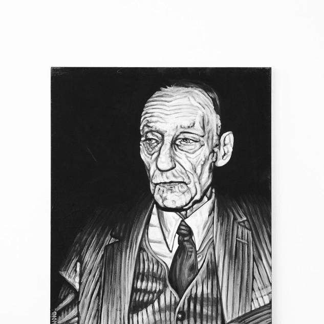 WILLIAM S. BURROUGHS, 2017   black & white Acrylic on Canvas  Ca 120 x 100 cm signed
