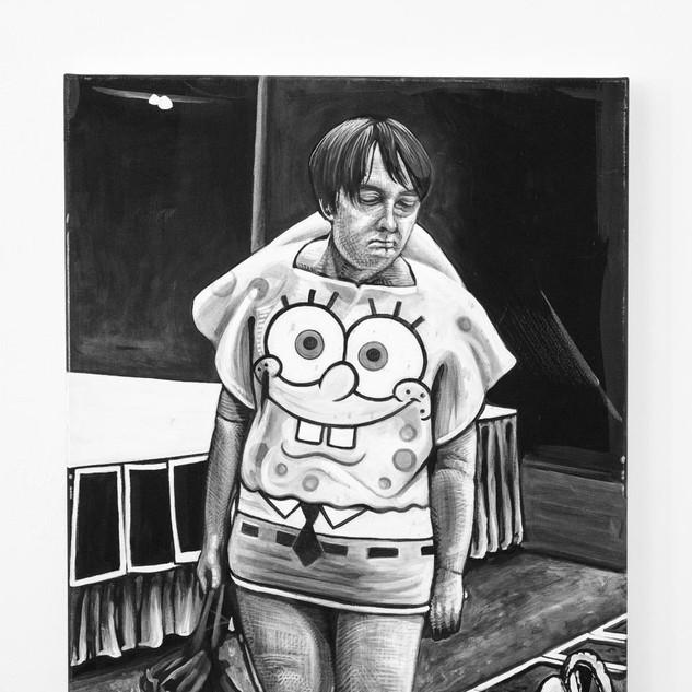 SPONGEBOD, 2018  black & white Acrylic on Canvas  Ca 90 x 70 cm signed