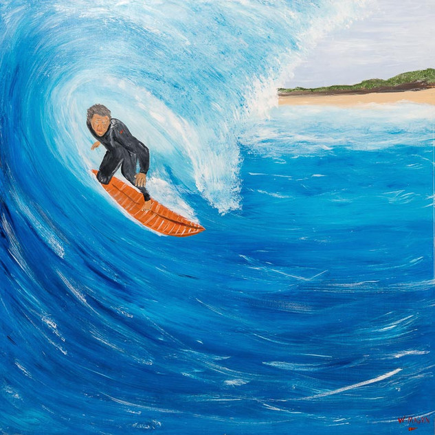 THE CAPTAIN, 2018  Acrylic on Board 152.4 x 152.4 cm  The Captain is a most calculating man. He has the gift of looking at a wave and knowing if it will peel into a tube, or close out before the ride ends. Such is his skill, that some say they have never seen The Captain get his hair wet. Why do they call him The Captain? He is a freight plane pilot with the exacting skill needed to land cargo planes in the remote jungles of Papua New Guinea.