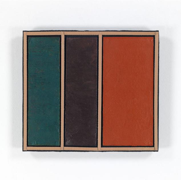 RAUMFLÄCHEN, 2020  Acryl auf Pappe 39,3 x 44 x 5,5 cm rückseitig signiert, datiert und betitelt