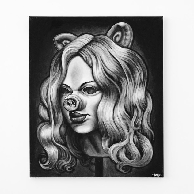 MISS PIGG, 2017  black & white Acrylic on Canvas  Ca 120 x 100 cm signed