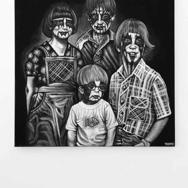 BLACK METAL, 2018  black & white Acrylic on Canvas  Ca 120 x 180 cm signed