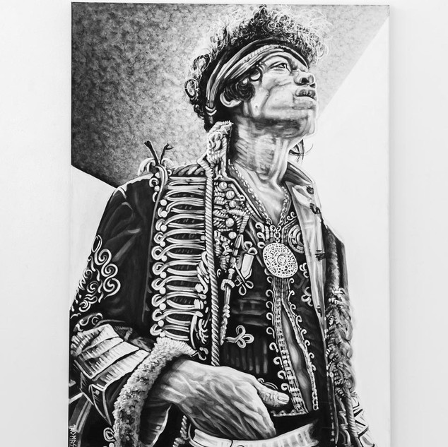 JIMMY HENDRIX, 2017  black & white Acrylic on Canvas  Ca 140 x 100 cm signed