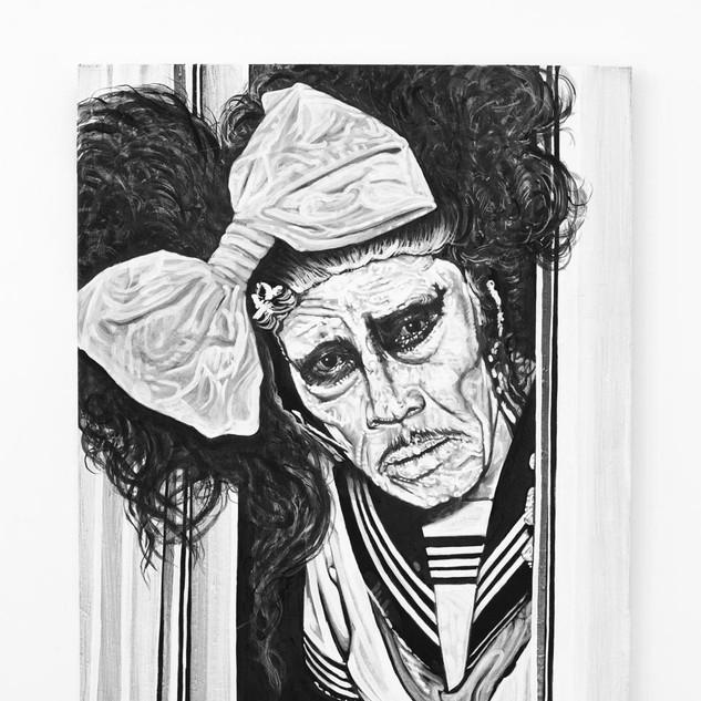 AKAJI MARO, 2017  black & white Acrylic on Canvas  Ca 120 x 100 cm signed