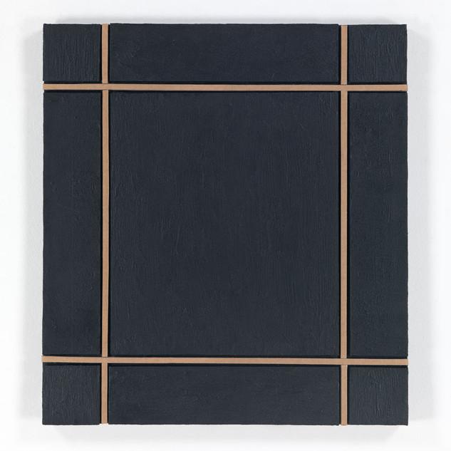 OHNE TITEL, 2020  Acryl auf Pappe 64 x 70 x 4,5 cm rückseitig signiert und datiert